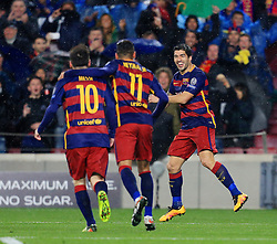 Luis Suarez of Barcelona celebrates  with Neymar and Messi after scoring his sides second goal   - Mandatory byline: Matt McNulty/JMP - 16/03/2016 - FOOTBALL - Nou Camp - Barcelona,  - FC Barcelona v Arsenal - Champions League - Round of 16