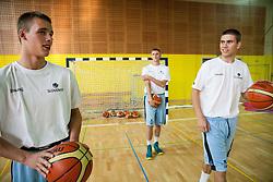 Klemen Prepelic, Gezim Morina and Jaka Brodnik during training camp of Slovenian National basketball team for Eurobasket 2013 on July 19, 2013 in Sports hall Rogatec, Slovenia. (Photo by Vid Ponikvar / Sportida.com)