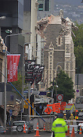The damaged Christchurch Cathedral after a Powerful earth quack ripped through Christchurch, New Zealand on Tuesday lunch time killing at least 65 people as it brought down buildings, buckled roads and damaged churches and the Cities Cathedral. Photo Tim Clayton