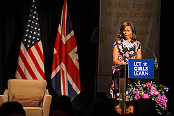 © Licensed to London News Pictures. 16/06/2015. London, UK. First lady MICHELLE OBAMA delivering a speech during a visit to Mulbery School For Girls in east London. Photo credit: Ben Cawthra/LNP