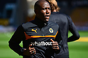 Goalscorer Benik Afobe warms up during the Sky Bet Championship match between Wolverhampton Wanderers and Ipswich Town at Molineux, Wolverhampton, England on 18 April 2015. Photo by Alan Franklin.