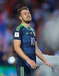 BELGRADE, SERBIA - Sunday, June 11, 2017: Wales' Aaron Ramsey looks dejected after missing a chance against Serbia during the 2018 FIFA World Cup Qualifying Group D match between Wales and Serbia at the Red Star Stadium. (Pic by David Rawcliffe/Propaganda)