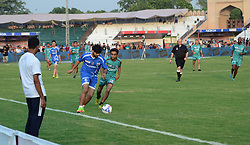 July 10, 2017 - Lahore, Punjab, Pakistan - International footballers  take a part during a friendly football match at Fortress stadium Lahore. Brazilian hero Ronaldinho, former Manchester United stalwart Ryan Giggs, former England goalkeeper David James, Dutch star George Boateng, former French players Robert Pires and Nicolas Anelka, and Portuguese player Luis Boa Morte reached the provincial capital city to play a friendly football match. (Credit Image: © Rana Sajid Hussain/Pacific Press via ZUMA Wire)