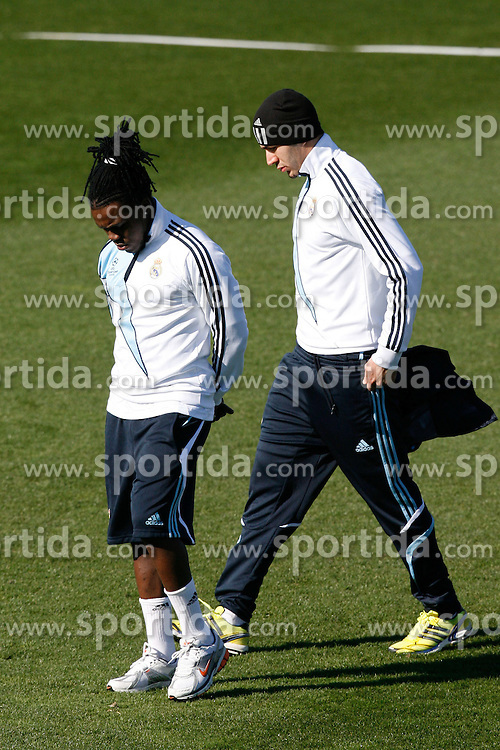 09.03.2010, Ciudad Real Madrid, Madrid, ESP, UEFA CL, Real Madrid Training im Bild Roysthon Drenthe and Karim Benzema, EXPA Pictures © 2010, PhotoCredit: EXPA/ Alterphotos/ ALFAQUI/ Alex Cid Fuentes / for Slovenia SPORTIDA PHOTO AGENCY.