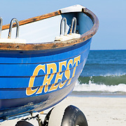 A Wildwood Crest lifeboat on the beach in Wildwood Crest, New Jersey, USA