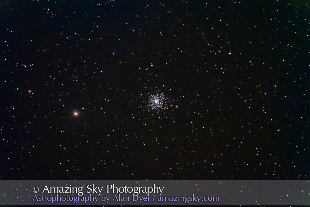 M30 globular cluster in Capricornus, taken with it low in the sky from Cypress Hills, August 2012. This is a stack of 4 x 4 minute exposures at ISO 1600 with the Canon 7D and 130mm AP refractor.