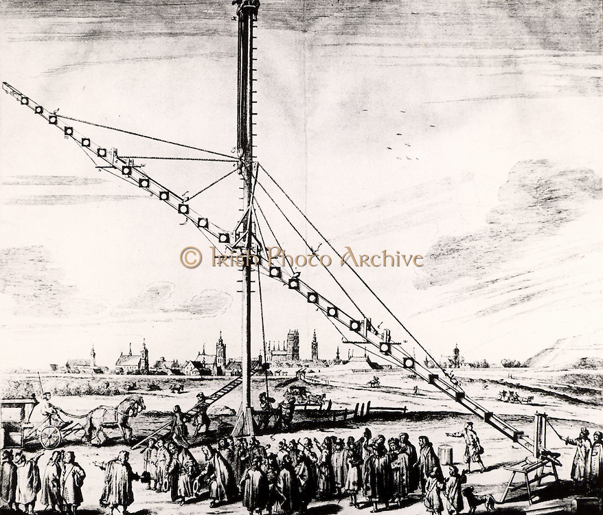 Hevelius's 150-ft  (16.240m) telescope being erected at Gdansk.  From 'Selenographia' by Johannes Hevelius (Gedani, Gdansk, Danzig,  1647).   Engraving.