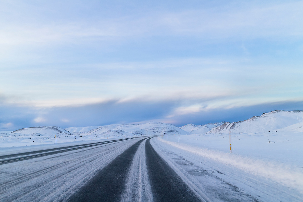 Snowy road at Hellisheidi, Iceland