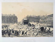 Paris Commune 26 March-28 May 1871. Destruction of the Vendome Column,  erected by Napoleon to  commemorate his victory at Austerlitz.   Lithograph.