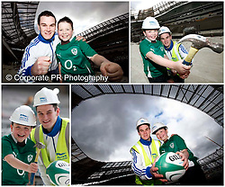 No Fee for Repro:.The new Aviva Stadium, which is due to be completed before the end of April 2010, has adopted the Make-A-Wish Foundation as its official charity partner.  On hand to mark the occasion were Irish Rugby international Jonathan Sexton and Nathan O'Grady from Limerick who recently had his wish granted when he was mascot for the Irish Team in the Autumn International against Australia. Pic Andres Poveda.