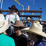 Young Cowboy's await near the schute for the the Novice Bull riding event during the Branxton Rodeo at Branxton, Hunter Valley,  New South Wales, Australia, on Saturday 17th October 2009.  Photo Tim Clayton