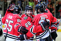 28 May 2014 Chicago Blackhawks Right Wing Patrick Kane 88 Celebrates with teammates After A Goal what Scored in Action during Game 5 of The Stanley Cup Playoffs Western Conference Final between The Los Angeles Kings and The Chicago Blackhawks AT The United Center in Chicago Il NHL Ice hockey men USA May 28 Stanley Cup Playoffs Western Conference Final Kings AT Blackhawks Game 5 <br />
