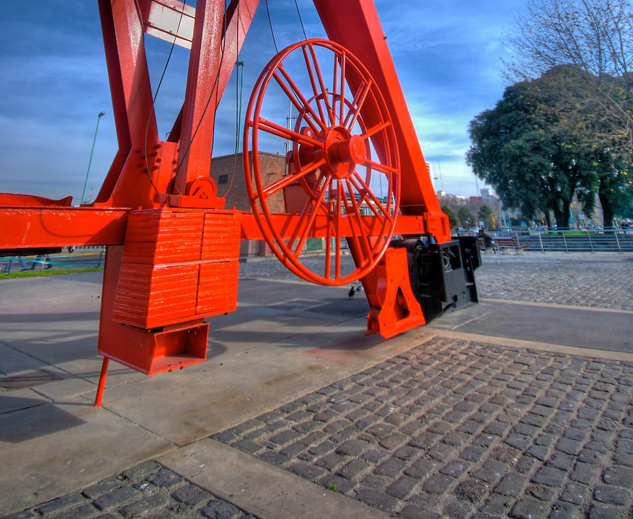 View of lower section of recycled crane in Puerto Madero, Buenos Aires, Argentina, this crane had been recycled, Puerto Madero is one the most popular tourist attractions in Buenos Aires