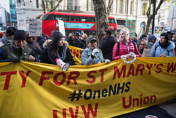 London, UK. 31 October, 2019. Low-paid and predominantly migrant St Mary's Hospital Paddington cleaners, caterers and porters outsourced via Sodexo to Imperial College NHS Healthcare trust and belonging to the United Voices of the World (UVW) trade union protest outside the offices of Sodexo during a coordinated series of 'five strikes in one day' involving also cleaners from the Ministry of Justice, University of Greenwich café workers, cleaners from ITV and Channel 4's offices and park attendants from the Royal Parks. The St Mary's workers are seeking the same terms and conditions as comparable in-house NHS workers and an end to outsourcing.