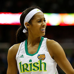 April 7, 2013; New Orleans, LA, USA; Notre Dame Fighting Irish guard Skylar Diggins (4) reacts against the Connecticut Huskies during the first half in the semifinals during the 2013 NCAA womens Final Four at the New Orleans Arena. Mandatory Credit: Derick E. Hingle-USA TODAY Sports