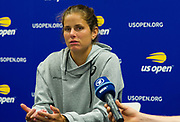 Julia Goerges of Germany talks to the media after winning her first-round match at the 2018 US Open Grand Slam tennis tournament, New York, USA, August 27th 2018, Photo Rob Prange / SpainProSportsImages / DPPI / ProSportsImages / DPPI