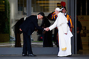 Vatican City may 16th 2016, 69th CEI (Italian Episcopal Conference) meeting. In the picture pope Francis greets a Vatican gendarme