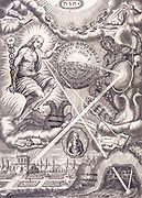 Symbolism and modern science. Frontispiece of 'Ars Magna Lucis and Umbra' by Athanasius Kircher (Amsterdam, 1671).  Traditional Hermetic/Alchemical symbols are mixed with a telescope, convex and concave mirrors and other optical devices. Kircher (1602-1680), German Jesuit priest, scientrist and polymath. Engraving.