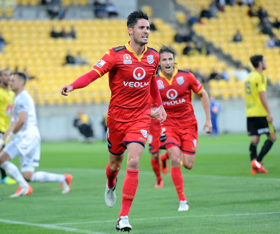 Adelaide United's Dylan McGowan celebrates his teams first goal against the Phoenix in the A-League football match at Westpac Stadium, Wellington, New Zealand, Saturday, March 05, 2016. Credit:SNPA / Ross Setford