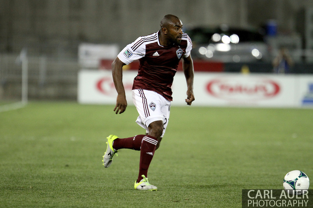 August 17th, 2013 - Colorado Rapids defender Marvell Wynne (22) brings the ball up the pitch in the second half of action in the Major League Soccer match between the Vancouver Whitecaps FC and the Colorado Rapids at Dick's Sporting Goods Park in Commerce City, CO