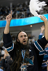 April 29, 2010; San Jose, CA, USA; A San Jose Sharks fan celebrates during the third period in game one of the western conference semifinals of the 2010 Stanley Cup Playoffs against the Detroit Red Wings at HP Pavilion. The Sharks defeated the Red Wings 4-3. Mandatory Credit: Jason O. Watson / US PRESSWIRE