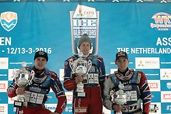 13.03.2016, Assen, BEL, FIM Eisspeedway Gladiators, Assen, im Bild Siegerehrung Sieger Dmitry Khomitsevich (RUS), zweiter Dmitry Koltakov (RUS), dritte3 Daniil Ivanov (RUS) // during the Astana Expo FIM Ice Speedway Gladiators World Championship in Assen, Belgium on 2016/03/13. EXPA Pictures &copy; 2016, PhotoCredit: EXPA/ Eibner-Pressefoto/ Stiefel<br /> <br /> *****ATTENTION - OUT of GER*****