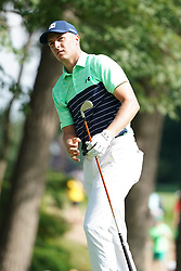 August 9, 2018 - St. Louis, Missouri, United States - Jordan Spieth watches his shot off the tee during the first round of the 100th PGA Championship at Bellerive Country Club. (Credit Image: © Debby Wong via ZUMA Wire)