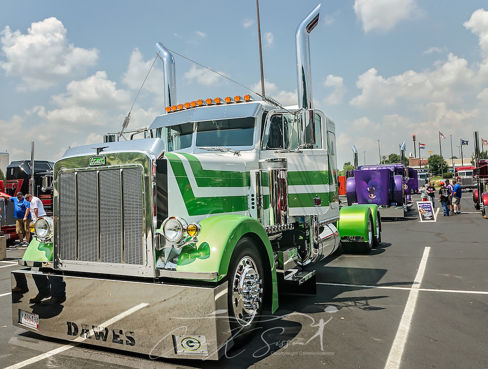 A 1988 Peterbilt 379 waits to be judged at the 34th annual Shell Rotella SuperRigs truck beauty contest, June 11, 2016, in Joplin, Missouri. SuperRigs, organized by Shell Oil Company, is an annual beauty contest for working trucks. Approximately 89 trucks entered this year's competition. (Photo by Carmen K. Sisson/Cloudybright)