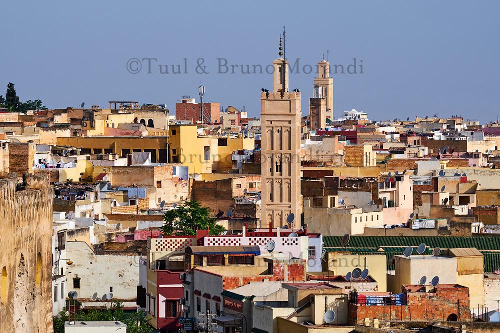 Maroc, région de Meknès-Tafilalet, cité impériale de Meknès classée Patrimoine Mondial de l'UNESCO, vue generale de la Medina // Morocco, Meknes Tafilalt region, historic city of Meknes, listed as World Heritage by UNESCO, Medina cityscape