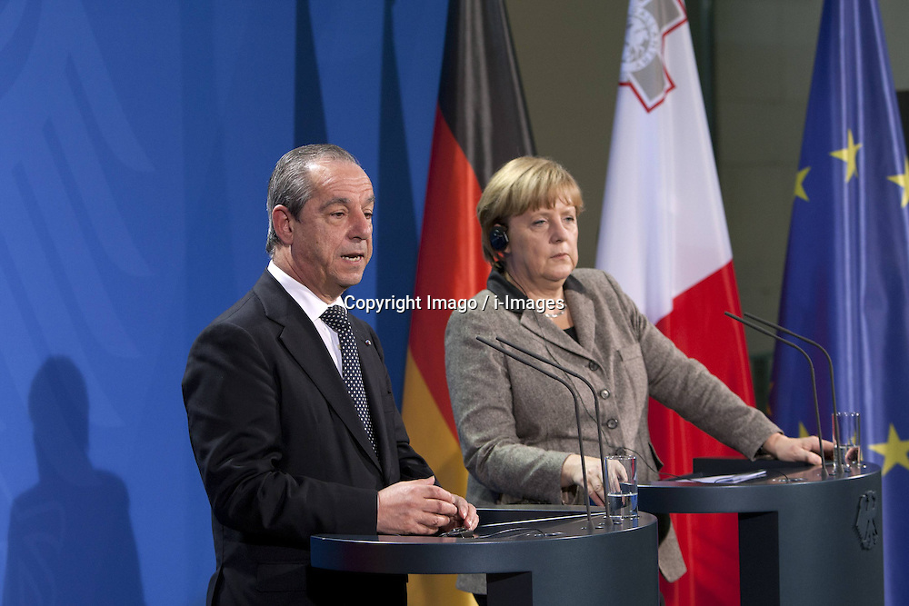 Chancellor Angela Merkel CDU and Lawrence Gonzi Prime Minister of the Republic of Malta Press conference in Federal Chancellery, Berlin, Germany, January 9, 2013. Photo by Imago / i-Images...UK ONLY