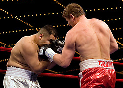 March 10, 2007 - New York, NY - Sultan Ibragimov knocks out Javier Mora in the first round of their bout at the Theater at Madison Square Garden in New York City.