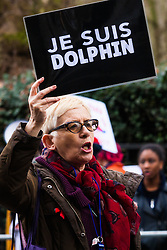 London, February 20th 2015. Scores of protesters demonstrate outside the Japanese embassy in London against the killing of dolphins in Taiji Action Day For Dolphins. The demonstrations are a regular occurrence, held by animal rights campaigners who oppose the slaughter of dolphins in Japan's Taiji Cove as well as tourist attractions where dolphins and killer whales are held in captivity. PICTURED: