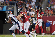 Atlanta Falcons quarterback Matt Schaub (8) throws the football during the Pro Football Hall of Fame Game at Tom Benson Hall of Fame Stadium, Thursday, Aug. 1, 2019, in Canton, OH. The Broncos defeated the Falcons 14-10. (Robin Alam/Image of Sport)