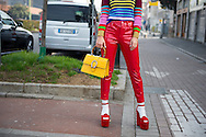 Yellow Gucci Bag and Red Pants, Outside the Show FW2017