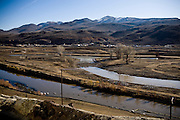 The Truckee River is diverted back to its original course, on the far side, on December 2, 2009 in Mustang, NV. is diverted back to its original course, on the far side, on December 2, 2009 in Mustang, NV.