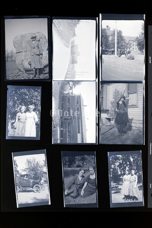 concactsheet of old photos with people posing rural USA