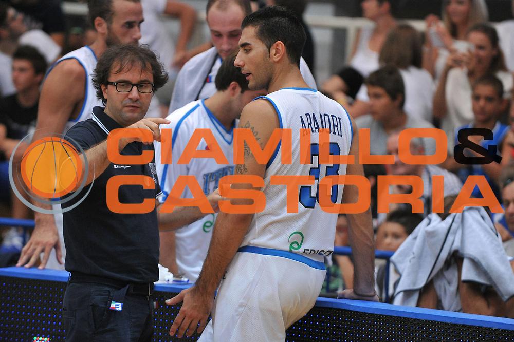 DESCRIZIONE : Trento Primo Trentino Basket Cup Italia Montenegro<br /> GIOCATORE : mario fioretti pietro aradori<br /> CATEGORIA : fair play<br /> SQUADRA : Nazionale Italia Maschile<br /> EVENTO :  Trento Primo Trentino Basket Cup<br /> GARA :Italia Montenegro<br /> DATA : 27/07/2012<br /> SPORT : Pallacanestro<br /> AUTORE : Agenzia Ciamillo-Castoria/M.Gregolin<br /> Galleria : FIP Nazionali 2012<br /> Fotonotizia : Trento Primo Trentino Basket Cup Italia Montenegro<br /> Predefinita :