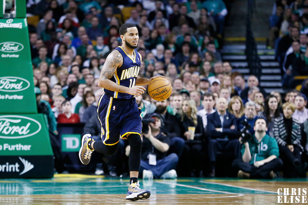 04 January 2013: Indiana Pacers point guard D.J. Augustin (14) brings the ball upcourt during the Boston Celtics 94-75 victory over the Indiana Pacers at the TD Garden, Boston, Massachusetts, USA.