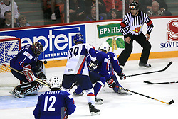 Goalkeeper of Slovenia Andrej Hocevar at ice-hockey game Slovenia vs Slovakia at second game in  Relegation  Round (group G) of IIHF WC 2008 in Halifax, on May 10, 2008 in Metro Center, Halifax, Nova Scotia, Canada. Slovakia won after penalty shots 4:3.  (Photo by Vid Ponikvar / Sportal Images)