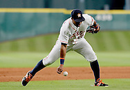 Jun 22, 2016; Houston, TX, USA; Houston Astros third baseman Luis Valbuena (18) drops a Los Angeles Angels grounder in the ninth inning at Minute Maid Park. Astros won 3 to 2. Mandatory Credit: Thomas B. Shea-USA TODAY Sports