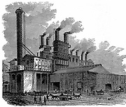 Blast furnaces at the Phoenix Iron and Bridge Works, Phoenixville, Pennsylvania, USA. Wood engraving New York 1873