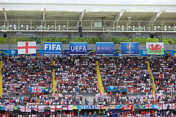 LENS, FRANCE - Thursday, June 16, 2016: Wales, England, FIFA, UEFA, Respect and EURO 2016 flags hang in the stadium during the UEFA Euro 2016 Championship Group B match at the Stade Bollaert-Delelis. (Pic by Paul Greenwood/Propaganda)