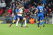 AFC Wimbledon defender Darius Charles (32) battles for possession with Fernando Llorente of Tottenham Hotspur (18) during the The FA Cup 3rd round match between Tottenham Hotspur and AFC Wimbledon at Wembley Stadium, London, England on 7 January 2018. Photo by Matthew Redman.
