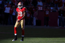October 10, 2010; San Francisco, CA, USA;  San Francisco 49ers wide receiver Ted Ginn Jr. (19) warms up before the game against the Philadelphia Eagles before the game at Candlestick Park.