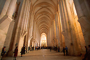PORTUGAL, ALCOBACA Gothic nave of the abbey church