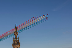 The Red Arrows fly past  Edinburgh, 24 August 2020