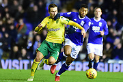 Norwich City midfielder Tom Trybull (19) battles for possession with Birmingham City midfielder David Davis (26) during the EFL Sky Bet Championship match between Birmingham City and Norwich City at St Andrews, Birmingham, England on 26 December 2017. Photo by Dennis Goodwin.