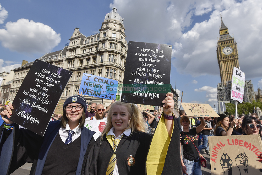 September 2, 2017 - London, UK - London, UK.  Vegans and other demonstrators take part in an Animal Rights march from Hyde Park Corner to Parliament Square demanding an end to animal oppression in order to help the planet. (Credit Image: © Stephen Chung/London News Pictures via ZUMA Wire)