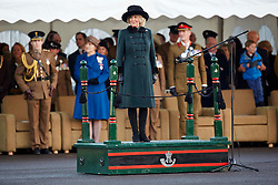 The Duchess of Cornwall, Royal Colonel, 4th Battalion, The Rifles welcomes home the Battalion, and presents Operational Service Medals to those who have recently returned from Afghanistan, Ward Barracks, Bulford, Wiltshire  Monday, 9th December 2013. Picture by i-Images