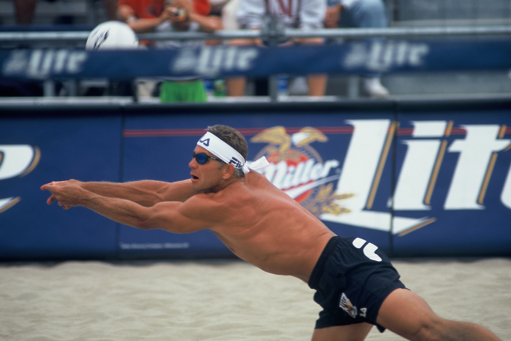 AVP Professional Beach Volleyball - Belmar, NJ - 1994 - Randy Stoklos -  Photo by Wally Nell/Volleyball Magazine
